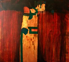 Mongolian traditional paint - wood x 200 cm) acrylic on cotton