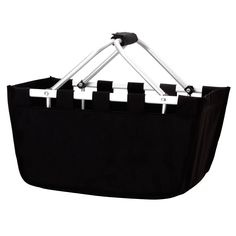 Solid Reusable Shopping Market Tote Basket Craft Sewing Organizer, Black