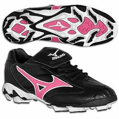 Mizuno Girls Youth Softball Cleats (Black/Pink, Sizes 1 -  Price: $49.95  #softball #cleats Girls Softball Cleats, Softball Gear, Air Max Sneakers, Sneakers Nike, Go Red, Dodgers, Nike Air Max, Youth, Baseball