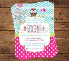Owl Themed Birthday Invitation by RaynebowShoppe on Etsy, $1.00 Owl Themed Parties, Owl Birthday Parties, 5th Birthday, Birthday Ideas, Custom Birthday Invitations, First Birthdays, Savannah, Party Ideas, Personalized Birthday Invitations