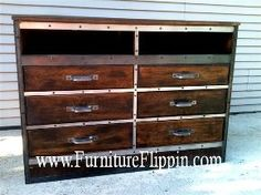 the ultimate dumpster diving flip aka dumpster dresser, diy, painted furniture, All done TV goes on top cable box and game system on open shelves