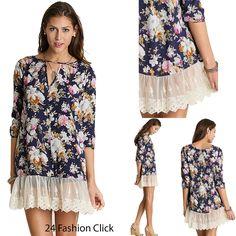 Umgee USA 3/4 Sleeve Women's Key Hole Dress Floral Print Lace Trim Hem Top S M L #UmgeeUSA #Tunic #Casual
