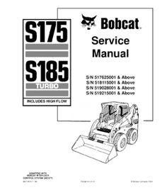 BOBCAT S175 SKID STEER LOADER SERIES SERVICE REPAIR MANUAL