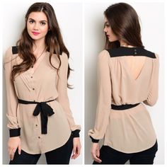 Taupe and black top This lightweight long sleeve woven top features a button up front closure and contrast colored trim, as well as a self tie waist sash. NO TRADES ✔️reasonable offers considered✔️ Tops Blouses