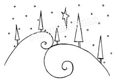 swirly hills with trees stamp. This could be drawn instead : swirly hills with trees stamp. This could be drawn instead Christmas Doodles, Diy Christmas Cards, Christmas Art, Christmas Border, Winter Christmas, Watercolor Christmas Cards, Christmas Drawing, Christmas Crafts, Christmas Decorations