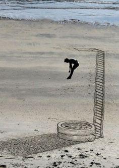 Ilusões 3D incriveis feitas na areia da praia (7)