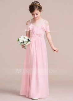 A-Line Princess V-neck Floor-Length Cascading Ruffles Zipper Up Spaghetti  Straps Sleeveless No Blushing Pink General Chiffon Junior Bridesmaid Dress c9dbacc9fc15