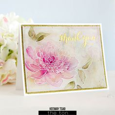 Rubber stamp with pigment ink, sprinkle white embossing powder on stamped image, heat to melt powder, color with watercolor paints. Beautiful peony flower greeting card handmade DIY