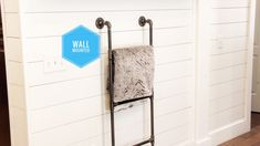 Excited to share this item from my shop: Wall mounted blanket ladder Blanket Rack, Blanket On Wall, Diy Blanket Ladder, Bath Towel Hanger, Wood Ladder Shelf, Wall Ladders, Speaker Wall Mounts, Black Blanket, How To Roll Towels