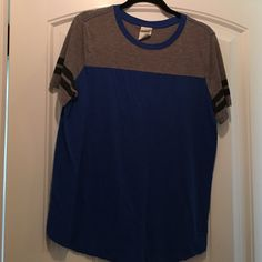 Cute blue and gray cotton shirt Striped sleeves Victoria's Secret Tops Tees - Short Sleeve