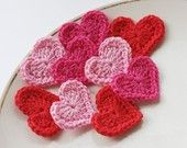 Crochet heart appliques valentines day scrapbooking embellishment scarlet red hot deep pink epictt therougett efpteam