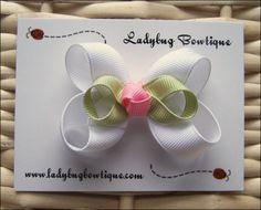 Little Baby Bud Hair Bow - White