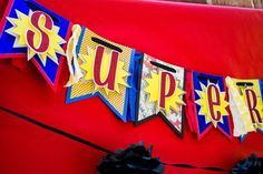 Superhero Birthday Banner; Superhero Banner, Red Yellow Blue Banner, Boys Superhero Banner, Comic Banner, Henry danger party Room Decor, Photography Prop