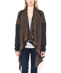 Look at this #zulilyfind! Black Geometric Sidetail Open Cardigan #zulilyfinds