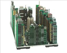 Italian artist Franco Recchia gives new life to computer parts by reusing them into nice miniature city skylines !  #Architecture, #Computer, #Electronics, #Sculpture #RecycledArt, #RecycledElectronicWaste Alter Computer, Computer Art, Computer Literacy, Computer Engineering, Computer Laptop, Sculpture Ornementale, Art Sculptures, Circuit City, Circuit Board