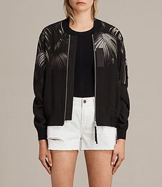 Womens Harlow Neluwa Silk Bomber Jacket (Black) - product_image_alt_text_1