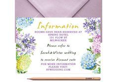 Floral Wedding Information Card  Wedding by LoveArtsStationery