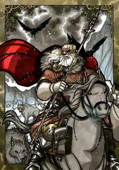 Odin with Geri and Freki & Hugin & Munion