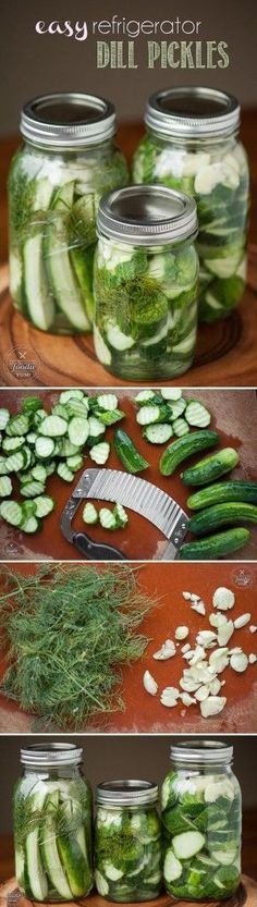 It only takes a few minutes to make Easy Refrigerator Dill Pickles. Once you make your own homemade version, you'll never buy store bought again. I want to try these - love pickles! Fingers Food, Homemade Pickles, Pickles Recipe, Easy Dill Pickle Recipe, Fermented Foods, Canning Recipes, Canning Tips, Dose, Buy Store
