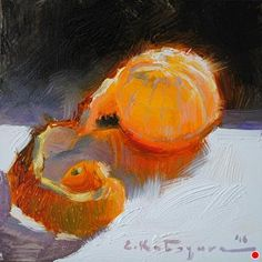 Peeled Clementine by Elena Katsyura Oil ~ 6 in x 6 in