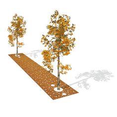 STREETLIFE Tree Grille Strip CorTen with Casual Dots pattern. #StreetFurniture #TreeGrate #CorTen