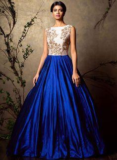 DIY Blue N White Art Dupion Silk Anarkali Gown