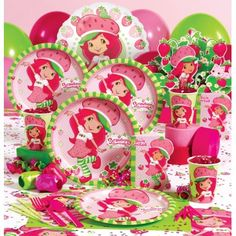 Lots of Strawberry Shortcake birthday party supplies!
