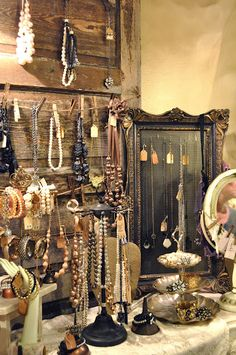 A tour of Whimsy. I LOVE using old wood in my jewelry displays! Pinning this idea to use in my vintage flea market booth. Craft Fair Displays, Market Displays, Store Displays, Booth Displays, Craft Booths, Retail Displays, Window Displays, Jewellery Storage, Jewelry Organization