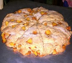 Peach Scones! Bursting w/ flavor! You can use your fav fruit but you must try the peach at least once! YUM!!! Easy to follow recipe, now go grab some coffee!