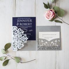 elegant navy blue silver laser cut pocket wedding invites EWWS176