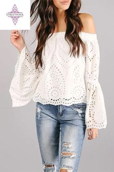 Fashion Lace Hollow Out Boat Neck Long Sleeve blouses for women chic blouses for women casual blouses outfit cute blouses blouses for women work business casual Spring Blouses, Autumn Blouses, Blouse Outfit, Work Blouse, Printed Blouse, Oufits Casual, Women's Casual, Chic Dress, Blouse Styles