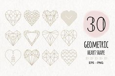 30 Geometric Heart Shapes Symbols by Pixejoo on Creative Market