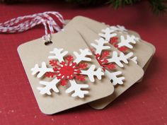 Snowflakes on Kraft Christmas Tags or Package Labels by scrapbits, $3.75