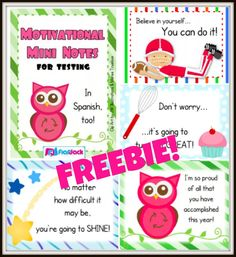 Motivation Mini-Notes FREEBIE by FlapJack - perfect for boosting student confidence during standardized testing season. There are 4 different designed messages with separate notes in Spanish, also!