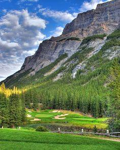 Famous Cauldren Par 3 at Banff Springs Golf Course, Alberta, Canada