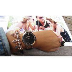 LOISIR goedkoop dameshorloge met zwart leer/lederen horlogebandje