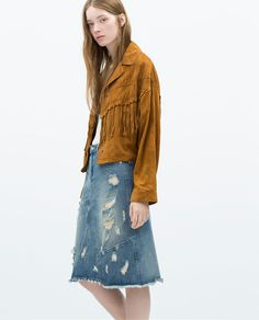 ZARA - WOMAN - DISTRESSED DENIM PENCIL SKIRT