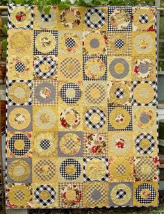 """Full Circle, 54"""" x 72"""".  I don't really like yellow too much but I really like this creamy yellow quilt.  full circle 001 A.jpg"""