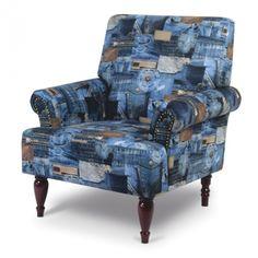 Kreslo - Tempo Kondela - Jeans Nosíte radi džínsy? A čo tak si na džísovú potlač sadnúť? Kreslo sa skvelo hodí do štýlových dizajnových interiérov.
