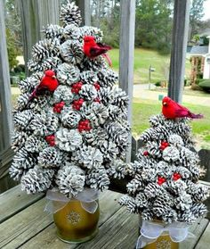 Winter Pine Cone Trees