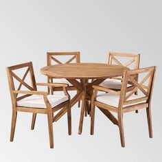 Llano 5pc Patio Dining Set - Christopher Knight Home : Target Wicker Dining Set, Round Dining Set, 4 Dining Chairs, Outdoor Dining Furniture, Round Table Top, Patio Dining, Dining Table, Wood Patio, Wood Rounds