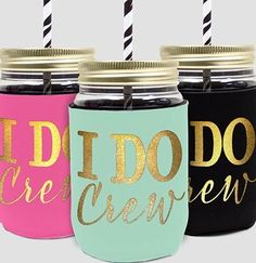 Bachelorette Party Favors - I Do Crew Modern Gold Sipping Jar