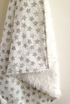 gray star faux fur baby blanket