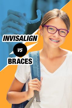 """When thinking about #orthodontics for #kids, most pick #braces.   Others may be considering #Invisalign — but few are REALLY sure, """"Which would be best?""""  This article breaks down the Invisalign vs braces debate Braces Tips, Kids Braces, Invisalign Vs Braces, Getting Braces, Dental Posters, Teeth Cleaning, My Children, Marketing, Braces"""