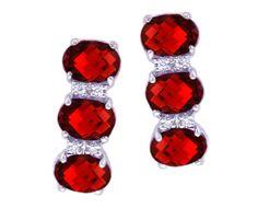 14K White Gold Oval Checkerboard Garnet Gemstone Trio and Diamond Earrings