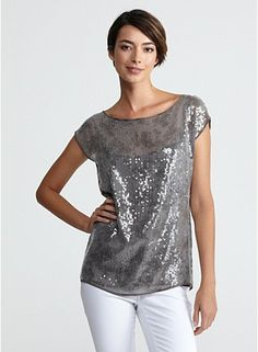 Bateau Neck Short-Sleeve Top in Clear Sequin Shimmer - perfect for a date night or going out top!!