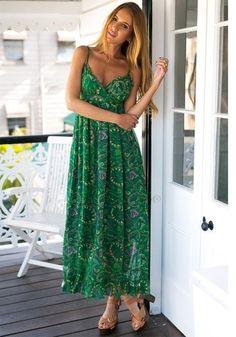 Green Printed Maxi Dress – Lookbook Store