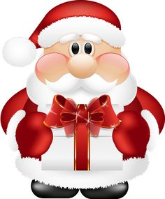 Cute Santa Claus with Gift PNG Clipart
