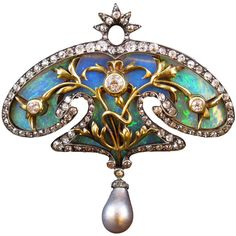 Preowned Art Nouveau Pearl Opal Diamond Brooch ($30,000) ❤ liked on Polyvore featuring jewelry, brooches, brooch, art nouveau, pin, multiple, grey jewelry, diamond brooch, pre owned jewelry and art nouveau brooch