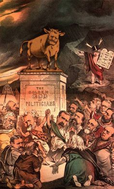 """The Stalwart's (a faction of the American Republican Party) dance around the golden calf that bears the face of Republican President Ulysses S. Grant. In the background, the comic figure Puck plays the role of Moses, descending the mountain with the Tablets, on which are written: """"Thou shalt not covet a third term."""""""